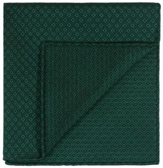 Forest Green Brocade Cotton Pocket Square # 5