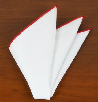 White Linen With Red Contrast Edges Pocket Square #LLCP-17
