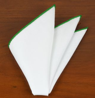 White Linen With Lime Green Contrast Edges Pocket Square #LLCP-23