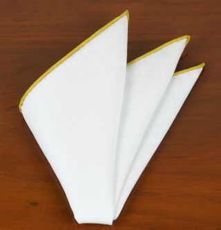 White Linen With Yellow Contrast Edges Pocket Square #LLCP-29