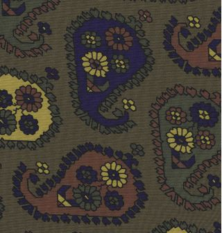 Yellow Gold, Blue, Burgundy, Dark Olive Green & Black on Olive Green Print Pattern Silk Pocket Square #MCP-544
