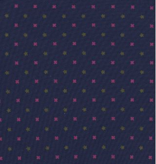 Dark Pink, Young Leaf Green on Navy Blue Print Pattern Silk Pocket Square #MCP-545