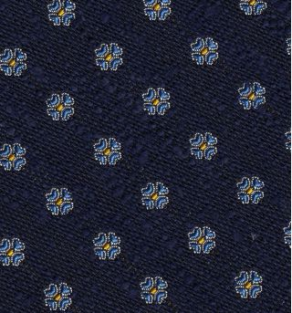 Sky Blue & Yellow Gold on Dark Navy Blue Shantung Pattern Silk Tie #SHPT-4