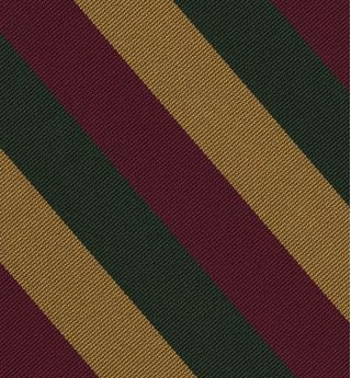 Burgundy, Yellow Gold, Forest Green Reppe Stripe Silk Tie #RST-84