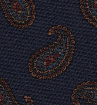 Burnt Orange, Sky Blue, Yellow Gold on Dark Blue with a touch of Purple Macclesfield Printed Wool Tie #MCWT-10