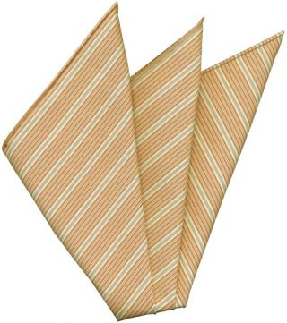 Brown, Off White & Brown Stripe Cashmere/Cotton Pocket Square #37