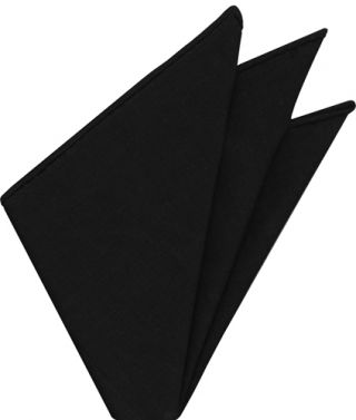 Black Belgian Linen Pocket Square
