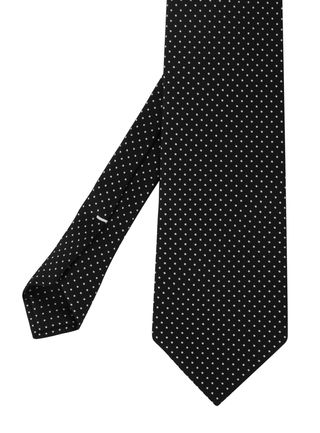 White On Black Printed Pin Dot Silk Tie #MCPDT-1