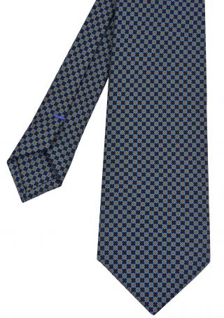 Sky Blue & Dark Burnt Orange on Midnight Blue Macclesfield Print Silk Tie #MCT-309