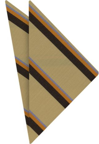 Powder Blue/Orange & Chocolate on Cream Atkinsons Striped Irish Poplin Pocket Square #46