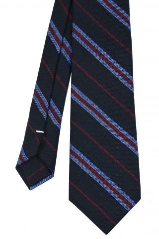 Lavender & Red Stripes on Midnight Blue Wool Tie # 3