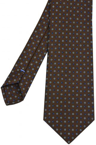 Blue, Sky Blue & White on Chocolate Macclesfield Print Pattern Silk Tie #MCT-476