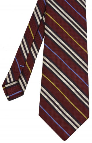 Sky Blue, Yellow Gold, Midnight Blue & Off White on Dark Red Striped Silk Tie #SST-27