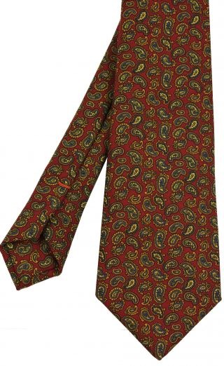 Challis Macclesfield Red Paisley Wool Tie #9