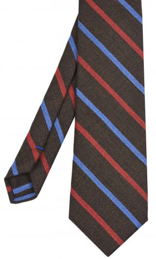 Light Lavender & Red Stripes on Dark Camel Wool Tie # 6