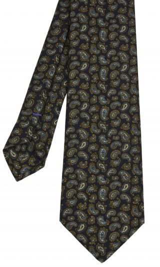Midnight Blue Paisley Pattern Challis Wool Tie # 7