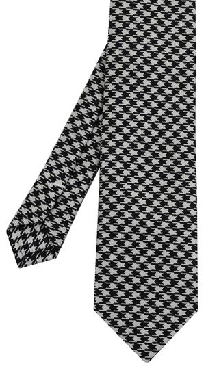Black & White Hounds Tooth Silk Tie #6