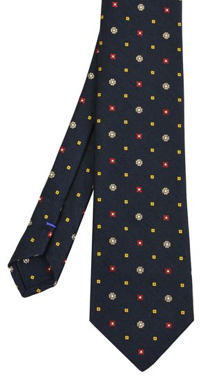 Silver Brown / White / Yellow & Red On Midnight Blue Cashmere/Silk Jacquard Tie #4