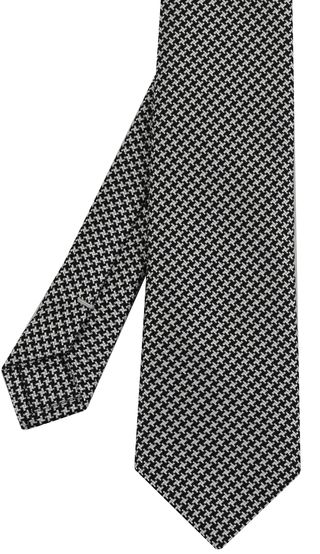 Black & White Hounds Tooth Silk Tie #4