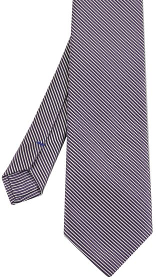 Lavender & White Striped Silk Tie #SST-24
