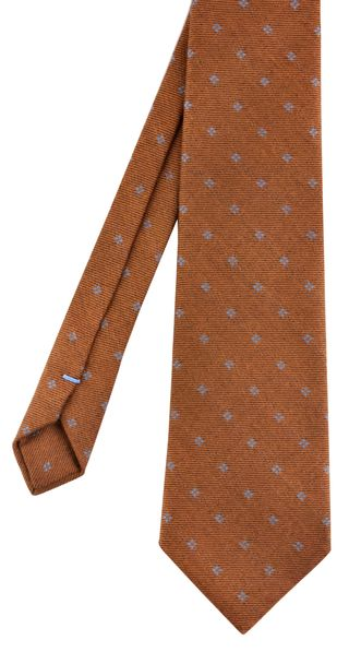 Sky Blue on Rust Pattern Wool Tie