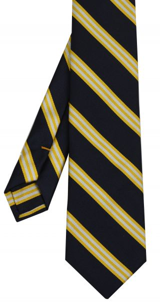 Yellow Gold & White on Midnight Blue Striped Silk Tie #63