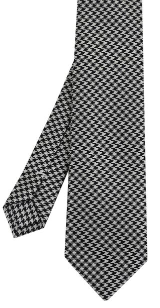 Black & White Hounds Tooth Silk Tie #5
