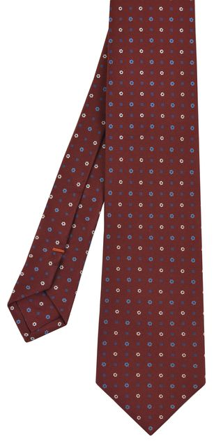 Sky Blue, Blue & Off-White on Dark Red Macclesfield Print Silk Tie #MCT-266