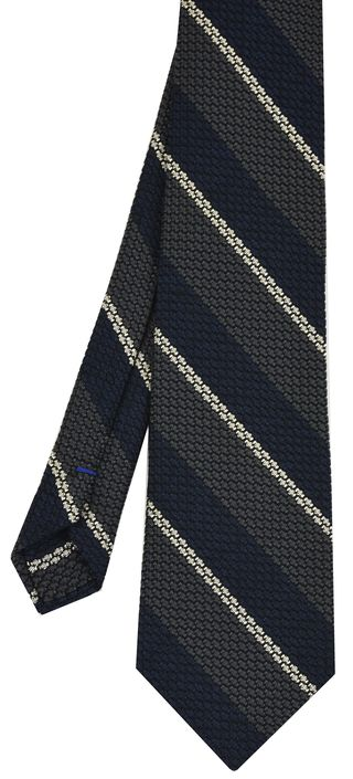 Charcoal Gray, Midnight Blue & Off-White Classic Grenadine Grossa Stripe Silk Tie #2