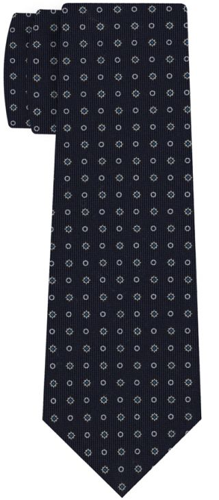Off-White & Sky Blue on Midnight Blue Macclesfield Print Pattern Silk Tie #MCT-467