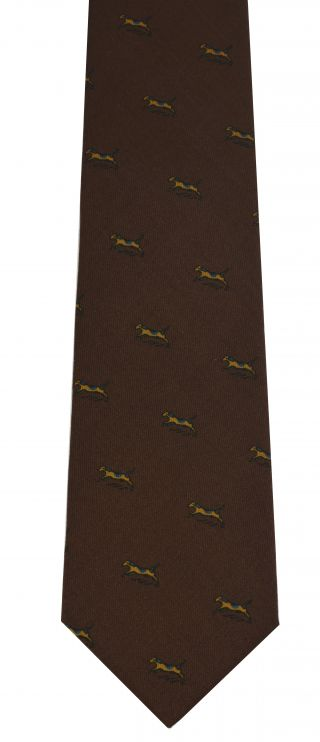 Yellow, Blue & Black on Chocolate Wool Pattern Print Tie #MCWT-6