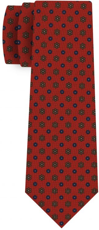 Navy Blue, Brown, Off White on Orange Print Pattern Silk Tie #MCT-528