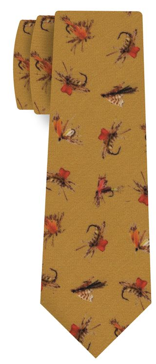 Brick, Brown, Off-White on Dark Gold Macclesfield Printed Fishing Lure Wool Tie #MCWT-1