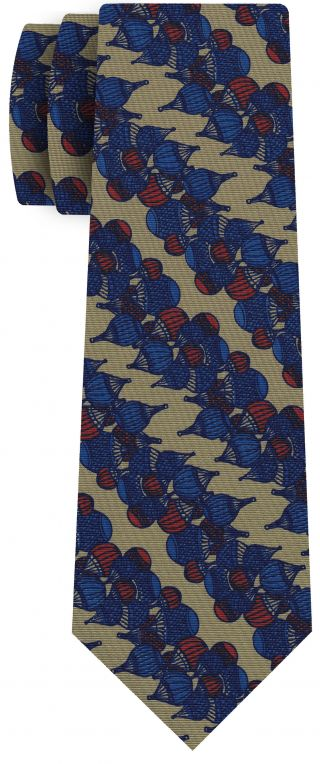 Red & Blue on Sand Print Pattern Silk Tie #MCT-540