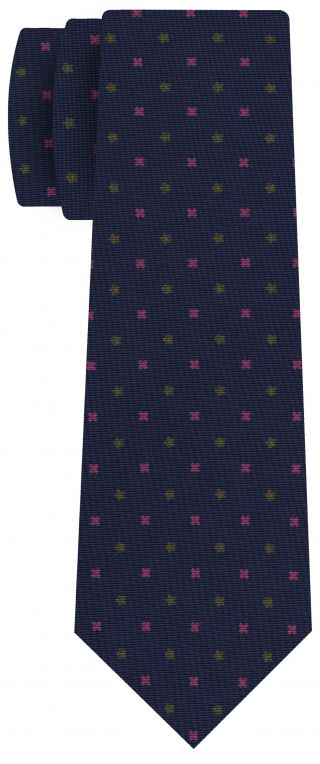Dark Pink, Young Leaf Green on Navy Blue Print Pattern Silk Tie #MCT-545