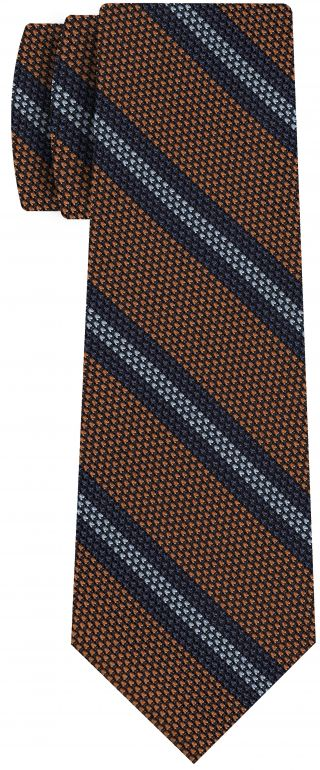 Navy Blue & Sky Blue ob Burnt Orange Grenadine Fina Stripe Silk Tie #GFSCT-6