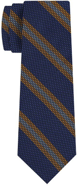 Yellow Gold & Sky Blue on Purple Blue Grenadine Fina Stripe Silk Tie #GFSCT-8