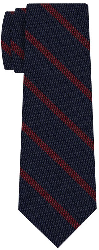 Red on Dark Navy Blue Grenadine Fina Stripe Silk Tie #GFSBT-1