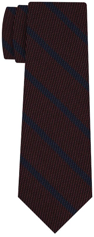 Blue on Burgundy Grenadine Fina Stripe Silk Tie #GFSBT-5