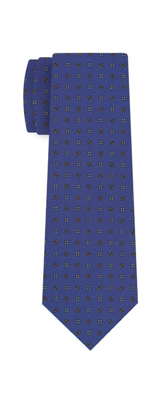Burnt Orange & White on Sky Blue Macclesfield Print Silk Ties #MCT-303