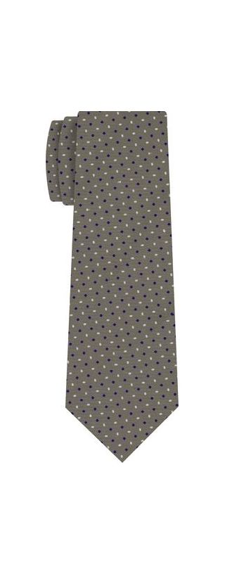Blue & White on Gray Macclesfield Printed Silk Tie #MCT-143