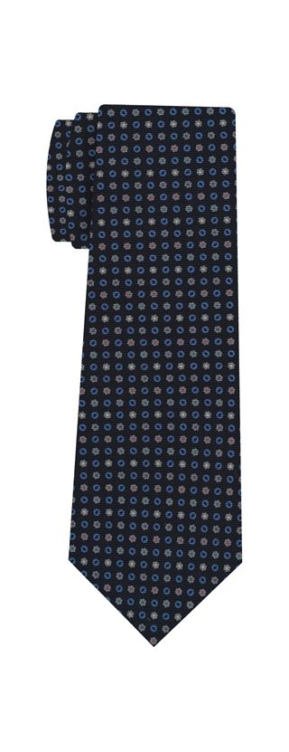 Sky Blue, White, Gray & Pink on Midnight Blue Macclesfield Print Silk Tie #288