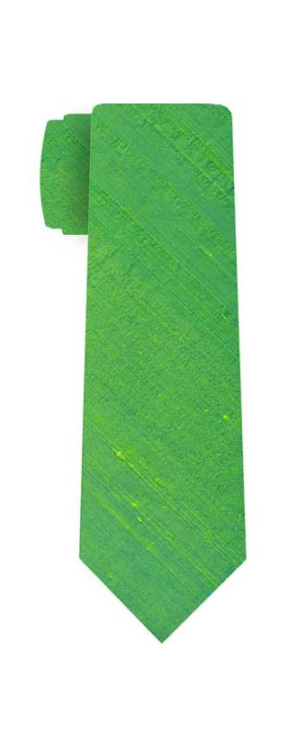 Lime Green Thai Rough Silk Tie # 4