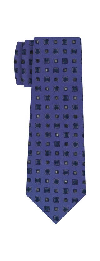 Dark Blue, White & Black on Purple Blue Macclesfield Print Silk Tie #287
