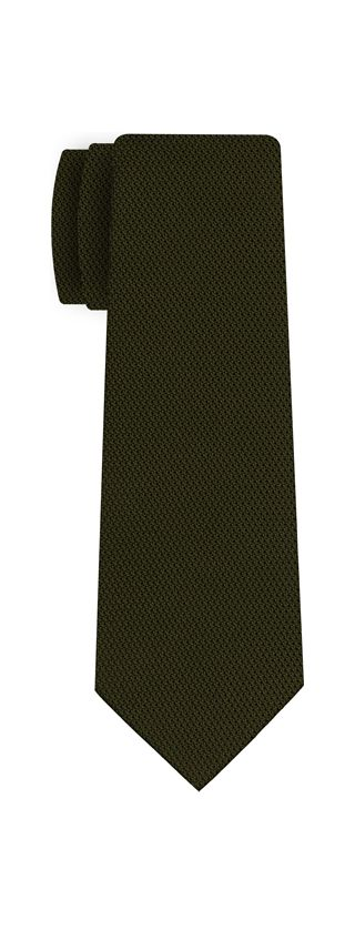 Olive Green Piccola Grenadine Silk Tie #12