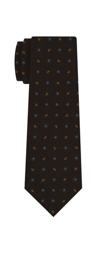 Sky Blue & Light Orange on Bitter Chocolate Macclesfield Print Silk Tie #197