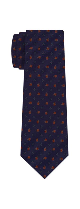 Sky Blue, Red & Gold on Dark Navy Blue Macclesfield Print Silk Tie #286