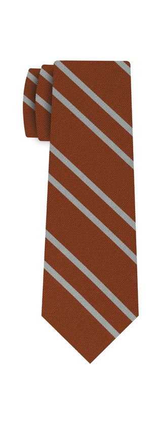 The Longhorn Silk Tie #ACO-1 (Burnt Orange & White)