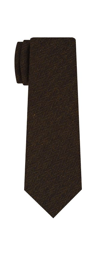 Black & Camel Herringbone Wool Tie # 1