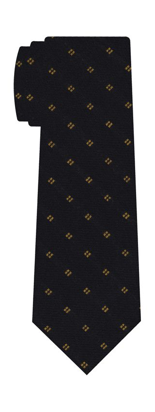Yellow Gold on Midnight Blue Pattern Wool Tie # 1